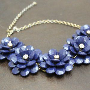 J Crew Navy Floral Statement Necklace